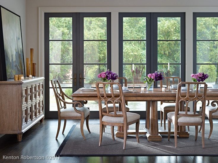 Beautiful Dark Door Trim In This Neutral Dining Room