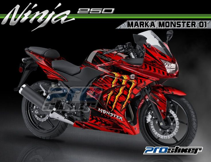 Modif Ninja 250 Karbu Warna Merah Decal Motif MARKA MONSTER 01 Merah Prostiker