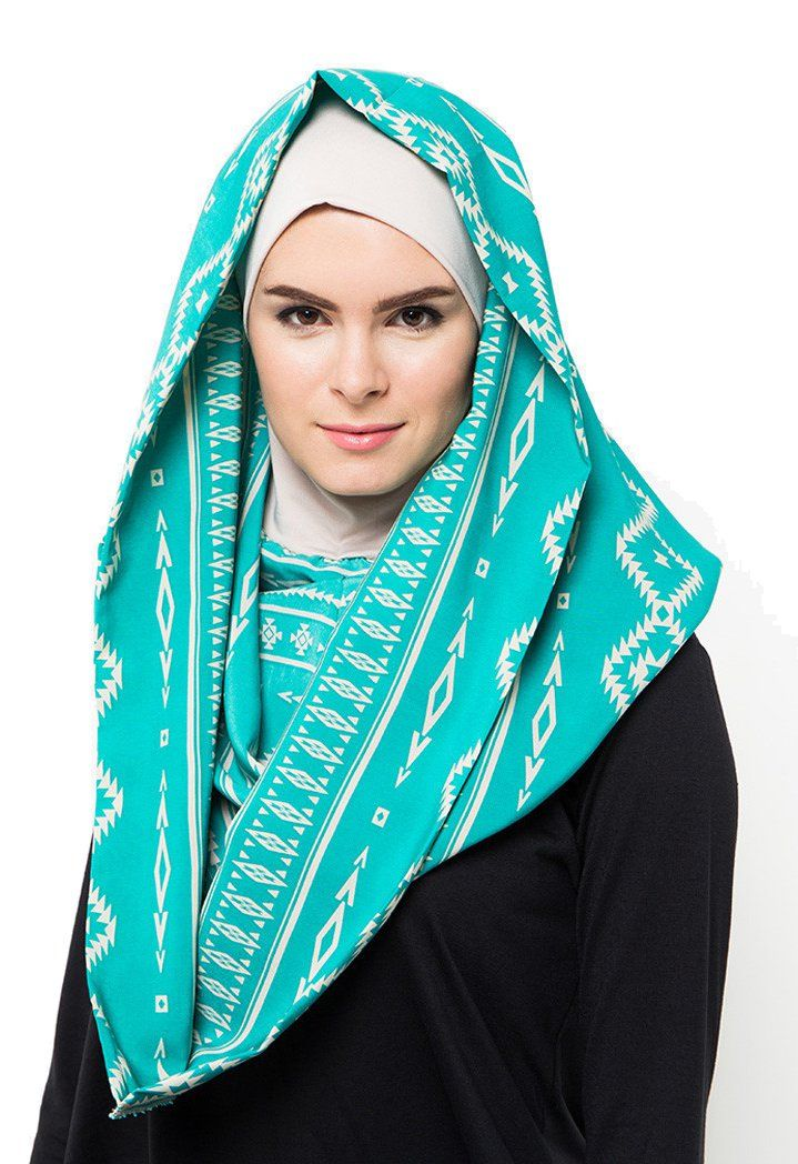 Instant Hoodie Hijab bY Byout, blue instant hoodie hijab with unique pattern and contrast pattern color, this turquoise hijab sure will brighten up your day, made from good material, perfect for casual occasion.    http://www.zocko.com/z/JHwtu