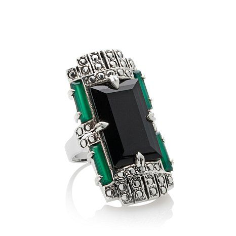 """Shop Nicky Butler 12.80ct Green Chalcedony and Onyx Sterling Silver """"Deco"""" Ring, read customer reviews and more at HSN.com.$120"""