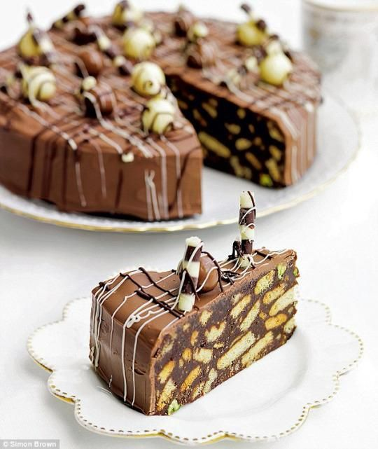 Prince Williams favorite cake growing up. A chocolate biscuit cake made with dried figs and pistachios.