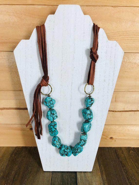 Turquoise Howlite Chunky Stone Bead Necklace,Leather Fringe Necklace