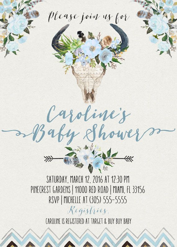 Blue Boy Boho Baby Shower Invitation Bullhead by CasaConfetti