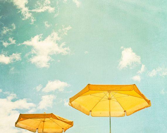 "Beach Umbrella Print - turquoise yellow mint green teal light seashore photography sky coastal wall art, 8x10, 11x14 Photograph, ""Sunny Day""..."