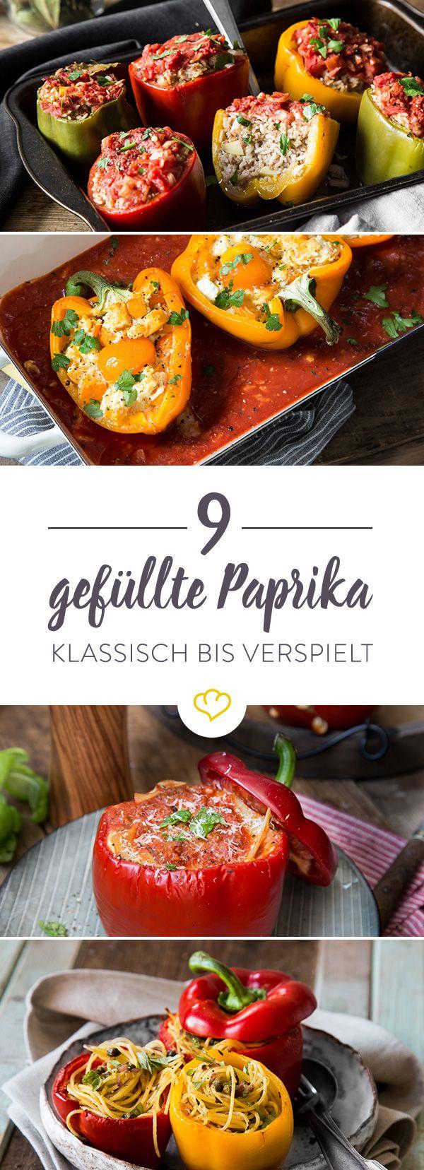 Da es ja bekanntlich auf die inneren Werte ankommt, kannst du die Paprika mit leckersten Zutaten füllen. Hier gibt's die gefüllte Paprika in 9 Varianten.