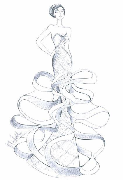 Bozzetto disegnato a mano da Elisabetta Polignano - collezione 2015  #sketch #wedding #weddingdress #abitodasposa
