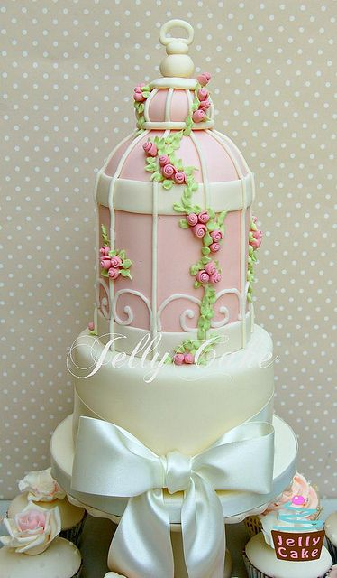 Pale Pink Birdcage Wedding Cupcake Tower by www.jellycake.co.uk, via Flickr