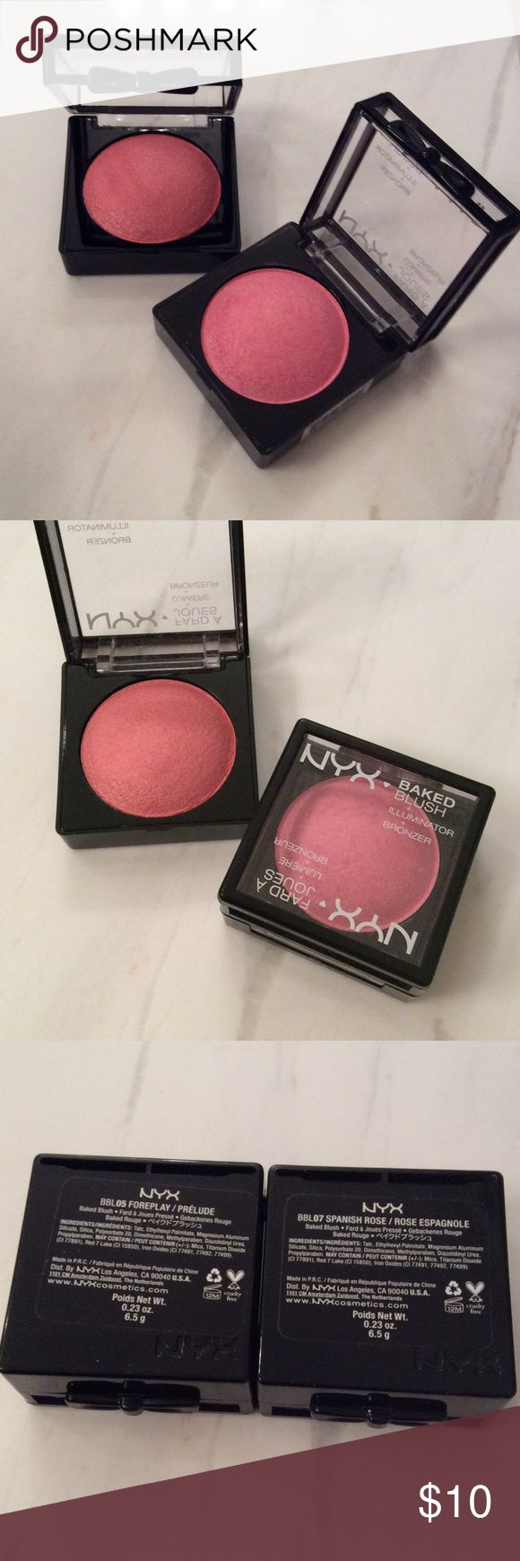 NYX Baked Blush Duo Two baked blushes in one convenient duo from NYX. Gives great color and luminosity to the skin without looking shimmery. Swatched, never worn. No box. NYX Makeup Blush