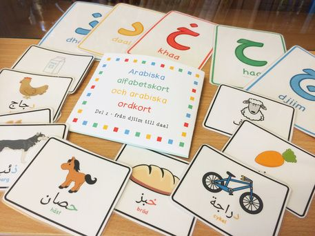 Gratis flashcards med arabiska bokstäver och ord. Free printable flashcards with arabic letters and words