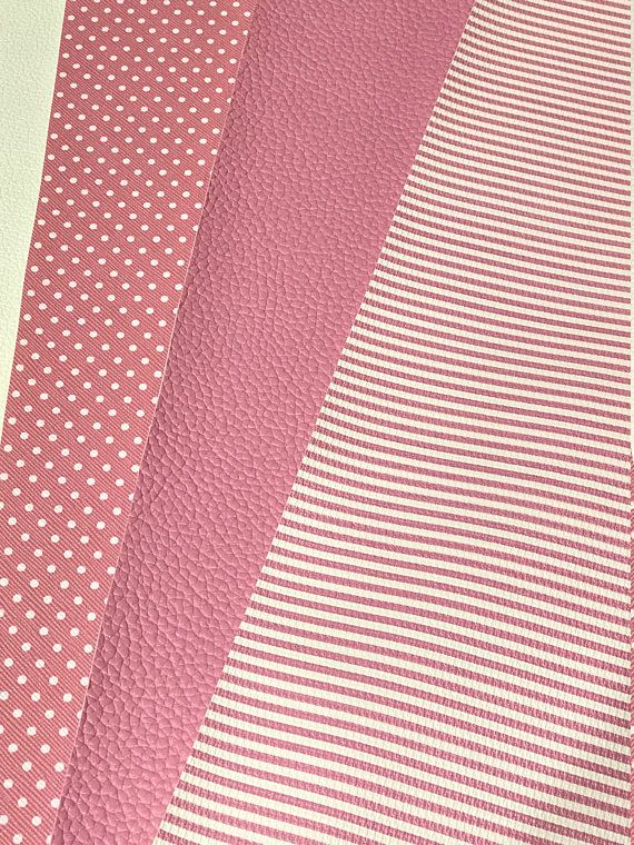 3 Pack Mix Pink Leatherette Candy Pink Pink and White Dots and