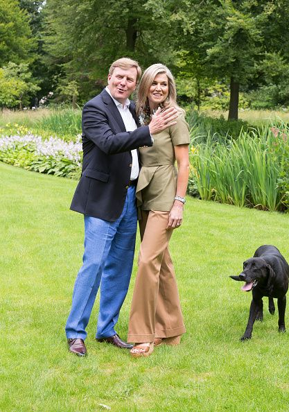 King WillemAlexander and Queen Maxima of The Netherlands pose for pictures during the annual summer photo call at their residence Villa Eikenhorst on...