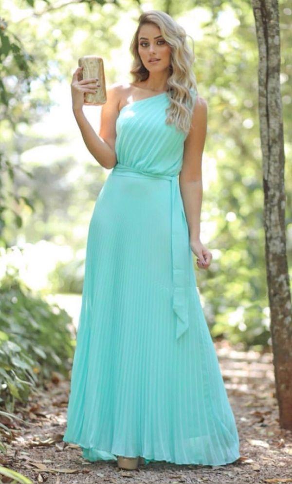 255da1cb5 vestido longo verde tiffany | Dresses em 2019 | Prom dresses ...