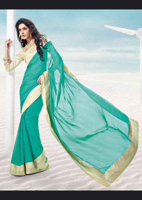 R Rajkumar Green Jacquard Bollywood Saree on US$ 53.18 On sale - ethnic-bargains.blogspot.co.uk/2014/02/price-drop-r-rajkumar-green-jacquard.html