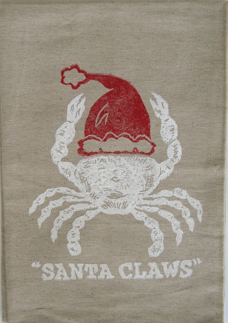 White crab with red Santa hat celebrating the season, so cute!