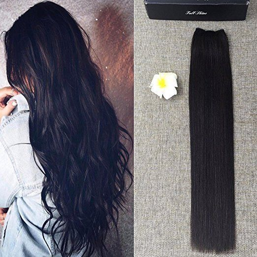 "16-22""Remy Hair Flip Human Hair Extensions Doubel Weft Halo Hair Mircale Wire 1B #FullShine"