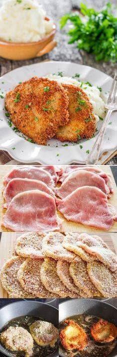 PORK SCHNITZELS   ~  10 boneless pork chops...2 large eggs...1 c. flour...1 c. Panko crumbs...salt & pepper to taste...vegetable oil for frying