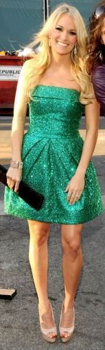 Carrie Underwood sparkly green strapless mini dress (backstage at the 2011 ACM Awards) (Frazer Harrison, photographer for ACMA2011)