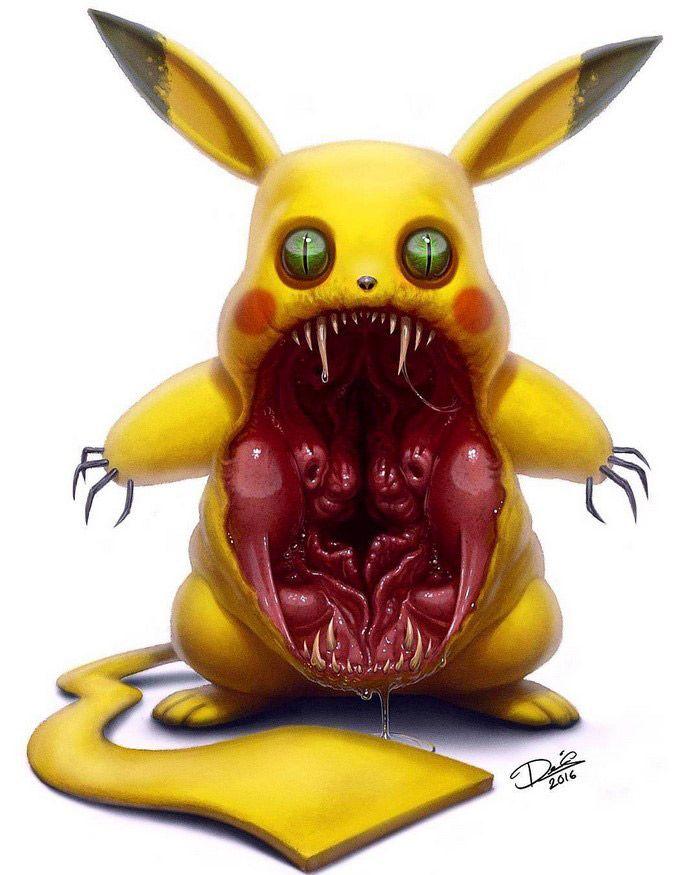 Oilustrador e tatuador sueco Dennis Carlsson, usa suas habilidades para adicionar um toque de pesadelo aospersonagens tradicionalmente bonitinhos e fofinhos como oUrsinhoPooh, Pikachu, Totoro…
