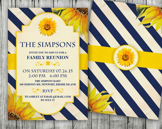 ♥ ♥ ♥ THIS WEEKEND ONLY ♥ ♥ ♥ All Family Reunion Invitations Are $10. Sale ends Monday.    This sunflower family reunion invitation can be customized to suite your needs.