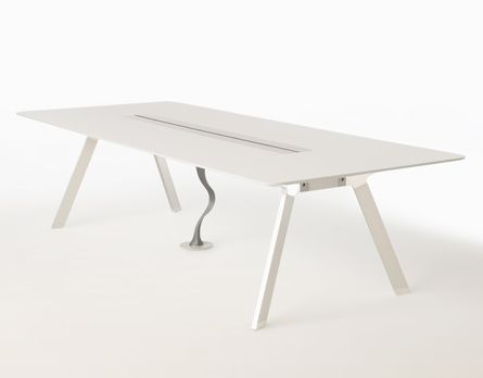 Metronome Conference Table with cable conduit, power trough closed - open study or quiet reading