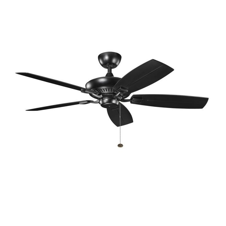 "Kichler 310192SBK 52"" Outdoor Ceiling Fan with Blades Downrod and Pull Chain Satin Black w/ Satin Natural Black Blades Fans Ceiling Fans Outdoor"