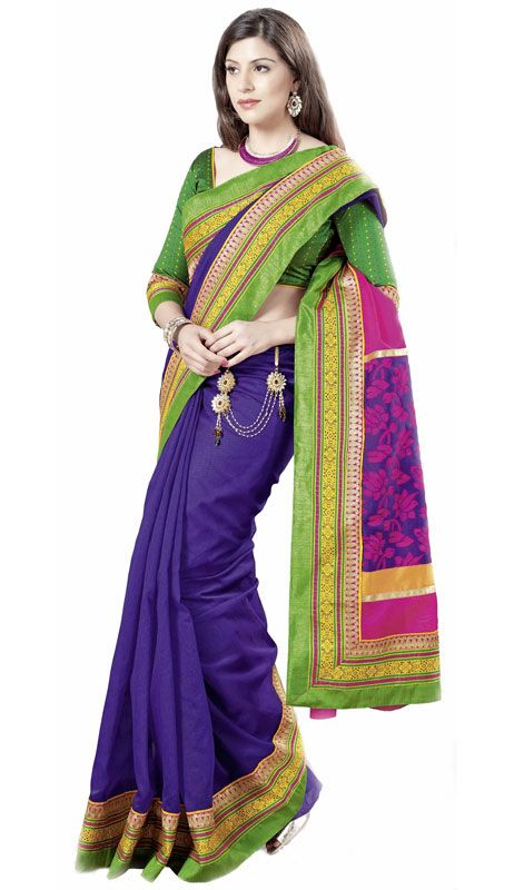 Navy Blue and Pink Linen Jacquard Saree Price: Usa Dollar $89, British UK Pound £53, Euro66, Canada CA$97 , Indian Rs4806.