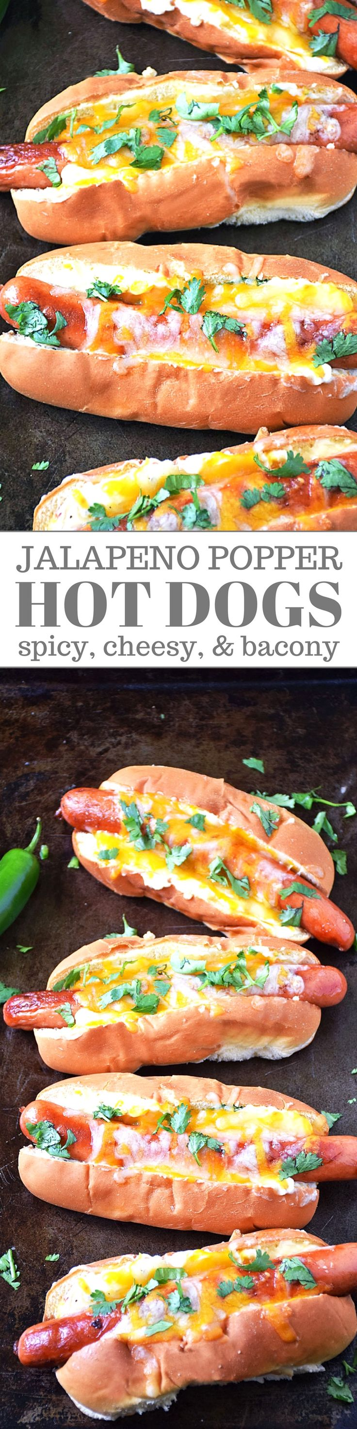 Jalapeno Popper Hot Dogs are a fresh twist on a classic American favorite. This unique recipe happened because I crave the spicy, cheesy, bacon-y goodness traditionally found in the popular Jalapeno Popper appetizer all the time! Why not put all that deliciousness on a hot dog?