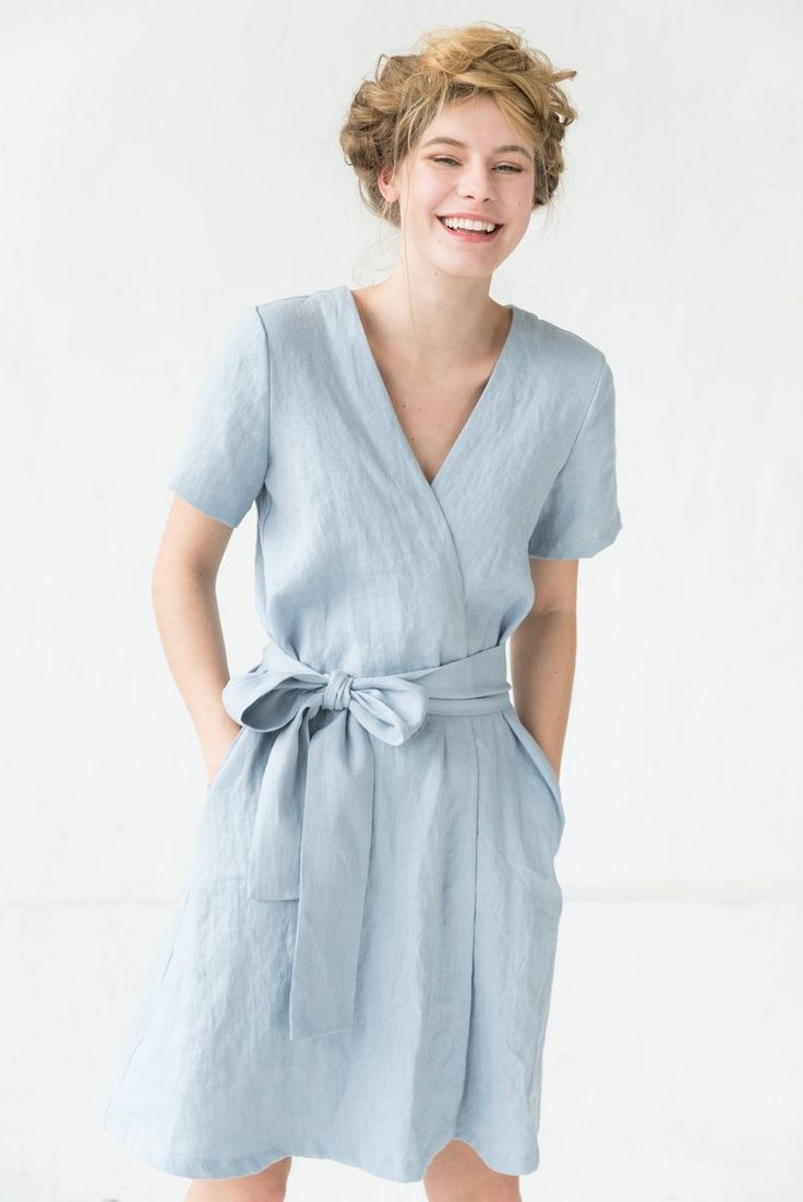 Linen dress light blue dress wrap dress pocket dress midi