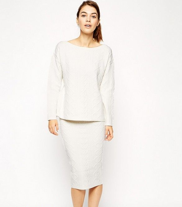 ASOS Co-ord Sweater in Structured Cable Knit and Structured Skirt