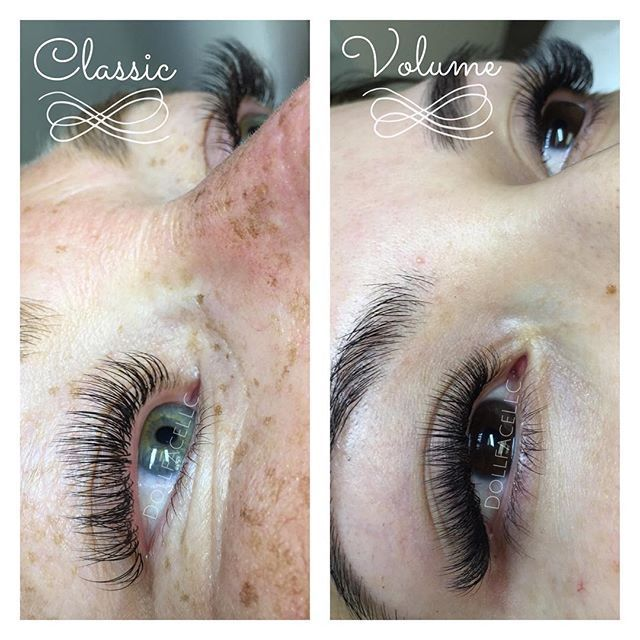 Side by side comparison of Classic vs. Volume eyelash extensions. Both beautiful! Classic lashes are one individual extension to one natural eyelash. Volume lashes are multiple thinner extensions attached to one natural lash. All fans are handmade as we go along specifically for the clients natural lashes and desired outcome. We do not use any pre-made fans or flares . Only the very best for our clients! Lashes featured are @sugarlashpro. #kirstenhansenlashartist #dollfacelashesandbe...