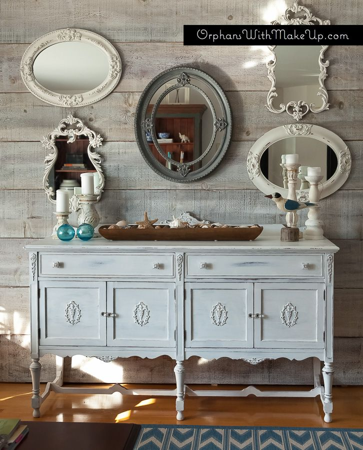 Planked Wall Mirror Display And Painted Sideboard