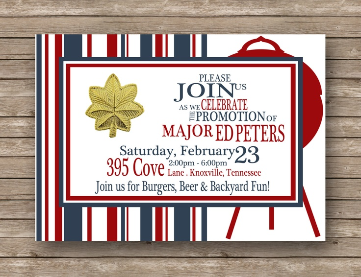 Military/Job Promotion/Graduation/Retirement Typography Red, White & Blue Backyard Cookout Stripes Invitation