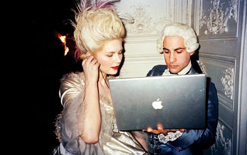 "Kirsten Dunst and Jason Schwartzman on the set of ""Marie Antoinette""."