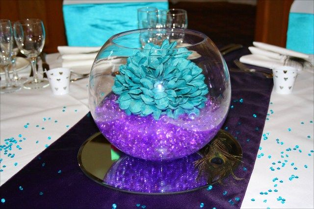 purple and turquoise wedding decorations 47