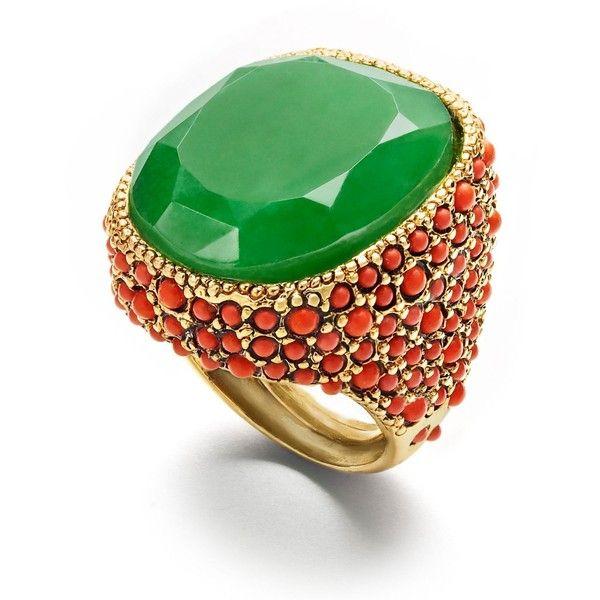 Kenneth Jay Lane White Bracelet W/ Coral Emerald Stones White 0pxRxUS0r