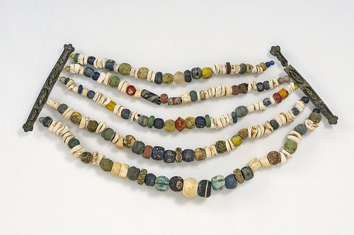 Viking necklace of glass beads. Grave find, Gotland, Sweden. Object from the…