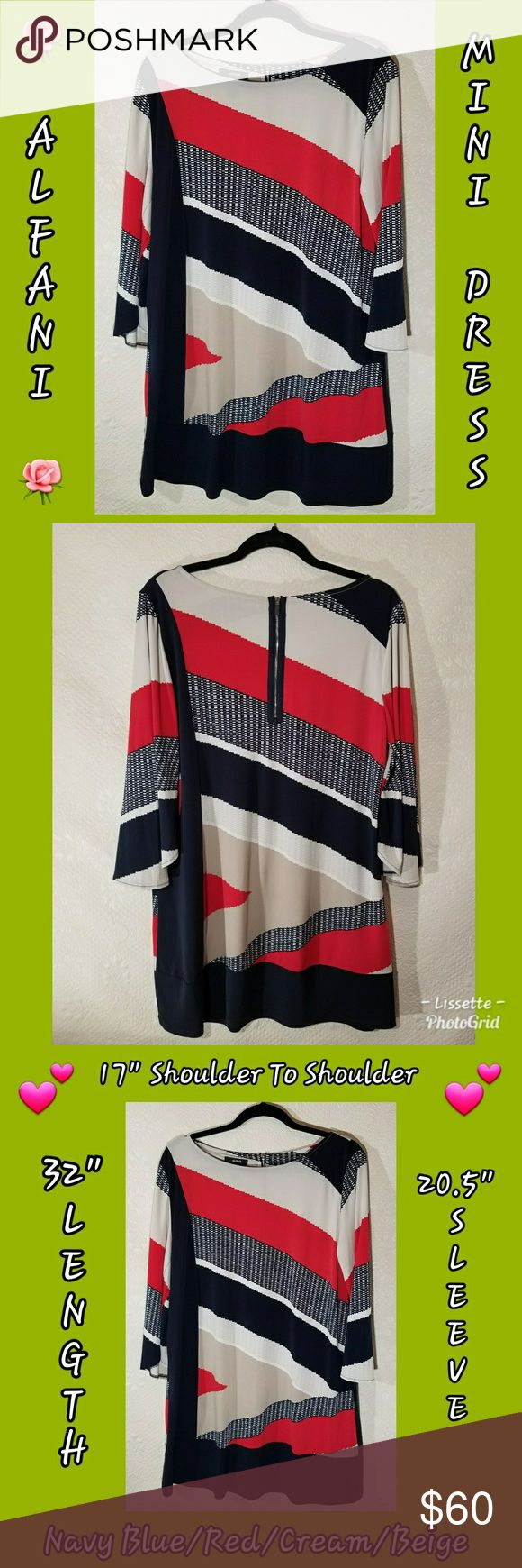 """💚Alfani Multi Color Mini Dress💚 💕Alfani Multi Color Mini Dress💕 Blue/Red/Beige/Cream 💕 Falls Beautifully & Is So Soft 😘 Like New!!! In Most Cases Will Ship Same Day 📮📬📦 """"FAST SHIPPER"""" I Love Sharing YOUR Closet & Helping In Any Way I Can 😘 """"POSH MENTOR"""" I Will Personalize Your Package With 💙 & Care """"TOP 10% SHARER"""" """"TOP RATED SELLER"""" Happy Poshing Beauties 🎉👗💄👠👕👖👔 Alfani Dresses Mini"""