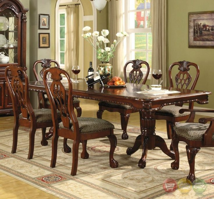 Dining Room Popular Dining Room Furniture Sets With Dining Table 6 Chairs Under Chandelier Above Laminate Wood Flooring Around Green Paint Wall Use Cream Curtain Windows The Different Types of Dining Room Furniture Sets