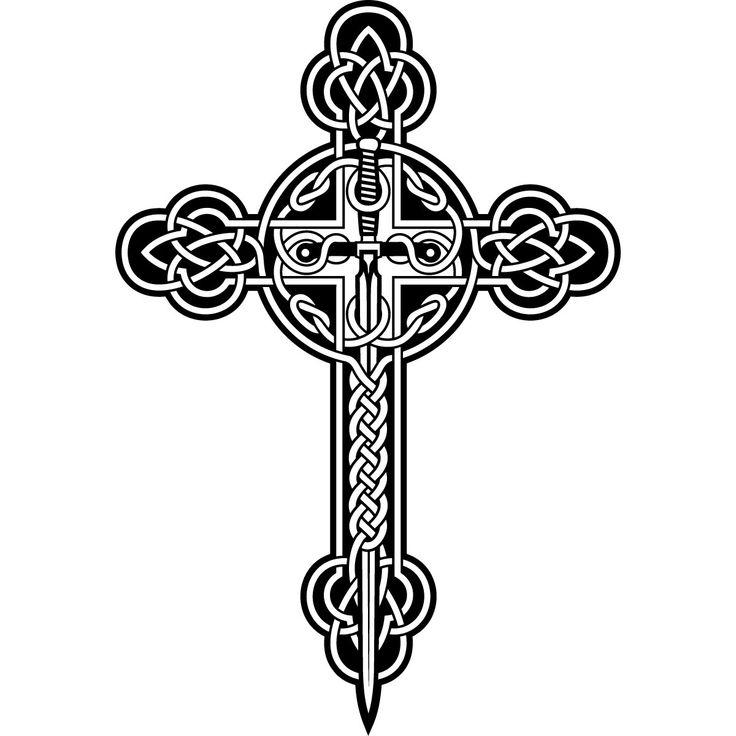 Pics For > Black And White Celtic Cross