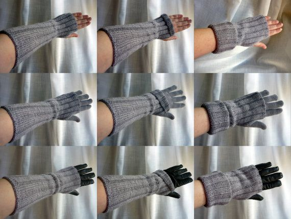 Knitting kit / gift kit - long fingerless gloves / mitts / arm warmers - hand knitting pattern and yarn in an organza bag