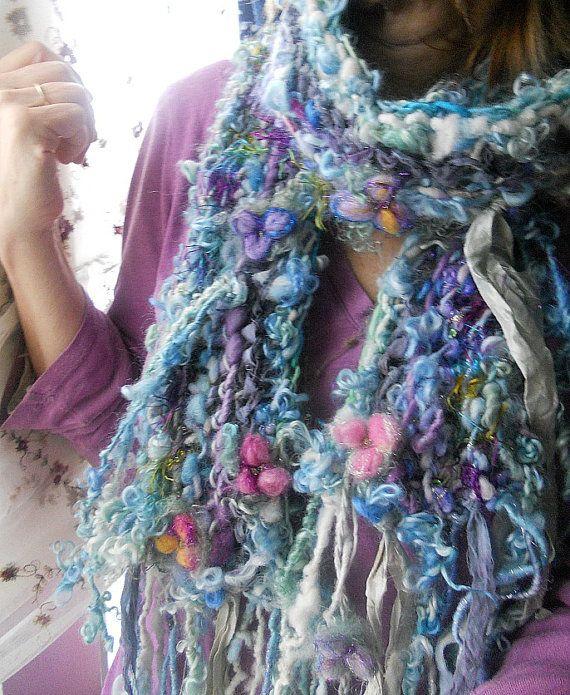 2 metros de largo- tejer bufanda handknit suave fantasía artyarn la bufanda - patchwork hadas gitano