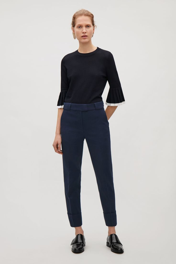 COS image 6 of Pleated sleeve jumper in Indigo