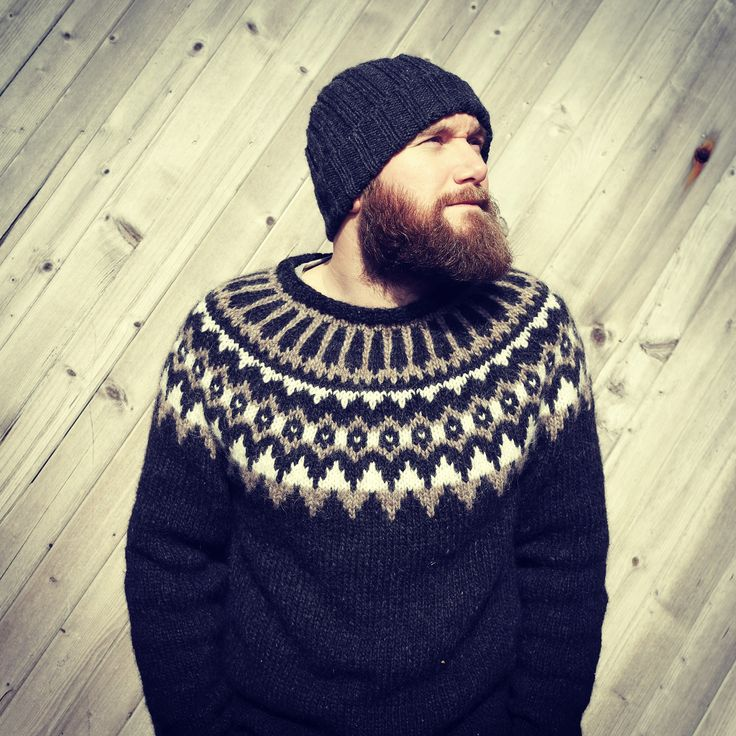 Knitted sweater, knitted hat, and a big beautiful beard!