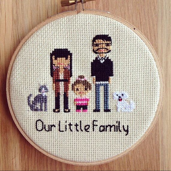 Custom Cross Stitch Family Portrait by NoBasicStitches on Etsy