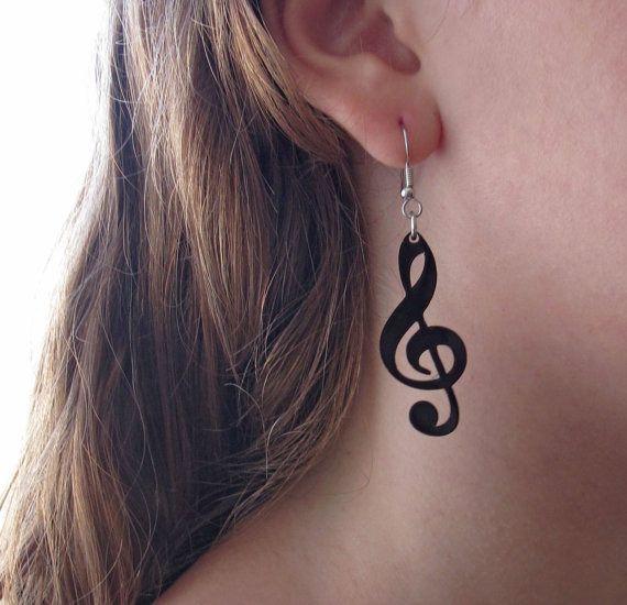 boucles d'oreilles note de musique - bijoux de musique - bijoux noir  EN PLASTIQUE FOU?                                                                                                                                                                                 Plus