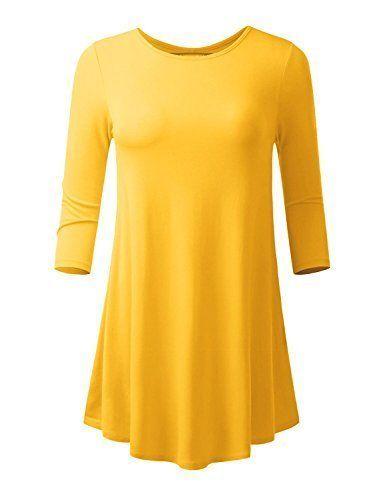 Lymanchi Women 3/4 Sleeve Flare Hem Round Neck Tunic Tops For Leggings For...
