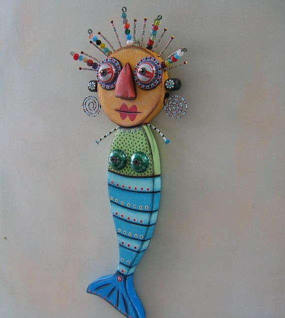 Blue Mermaid, Original Found Object Wall Art, Wood Carving by Fig Jam Studio