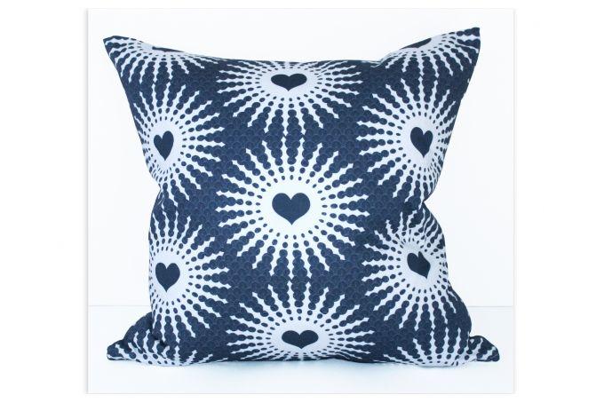 Shweshwe Hearts cushion cover by Design Kist on hellopretty.co.za