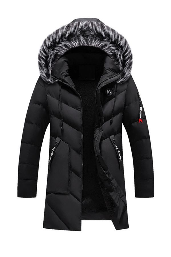 Mens Winter Warm Zipper Fleece Thick Jackets Coats Winter Hooded Padded Overcoat
