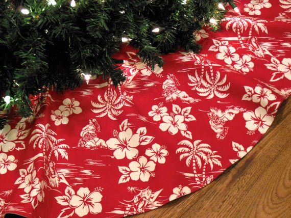 "Hawaiian Christmas Tree Skirt, Tropical Christmas Decoration, Beach Christmas, Hula Girls, 42"" Diameter Xmas Tree Skirt"